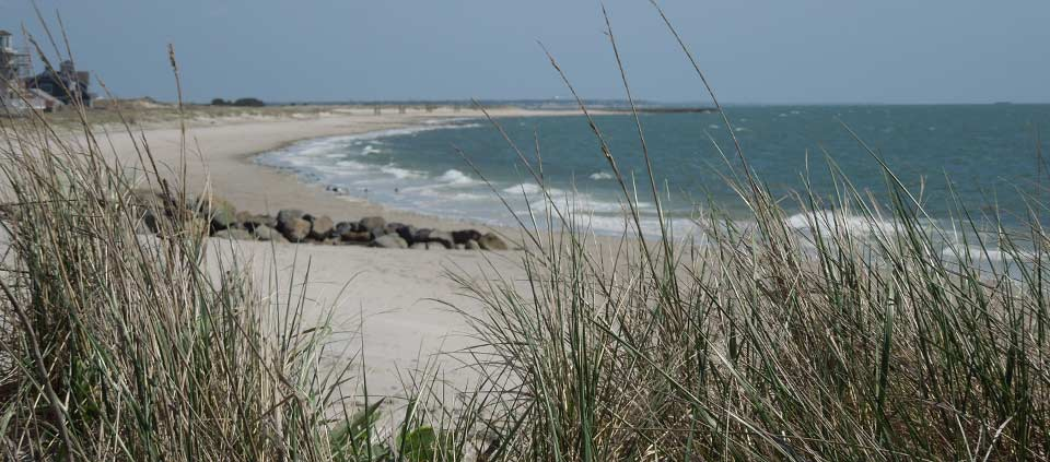 The beaches of Nantucket Sound with jetties in Yarmouth, MA
