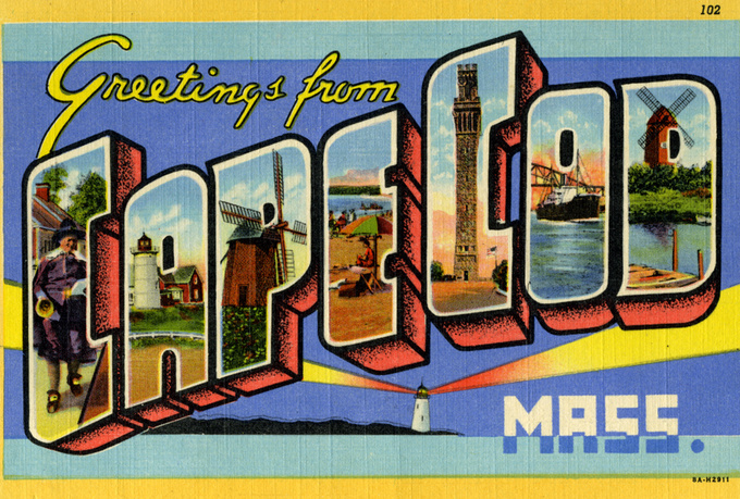 """a retro postcard states """"Greetings from cape cod Mass"""""""