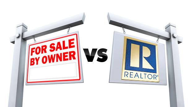 two signs - for sale by owner vs Realtor