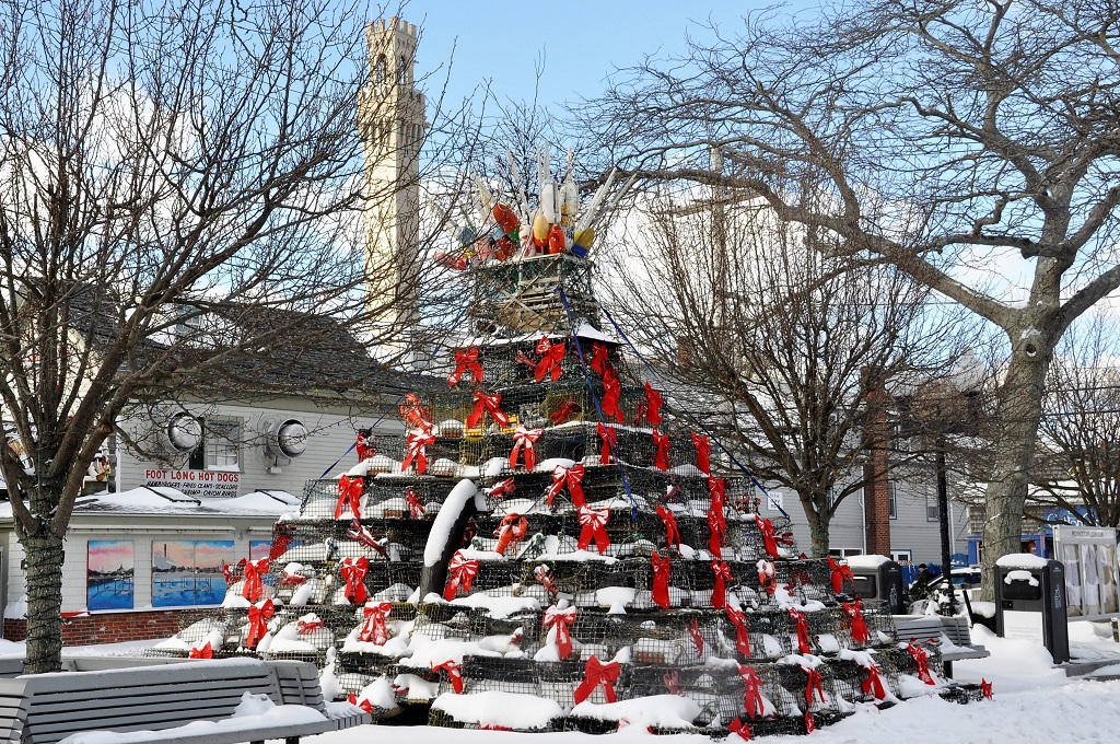 the festive pyramid of lobster traps on display in Provincetown